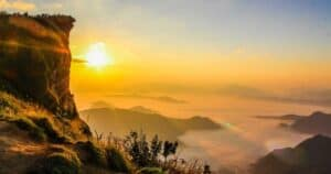 Berg solnedgång